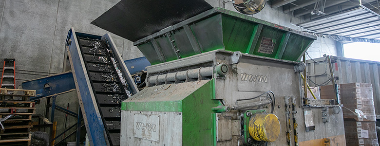 Recycling and sorting machinery at LJP Waste Solutions.